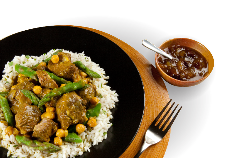 lamb and rice on plate