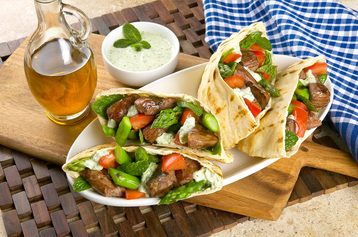 Lamb and Asparagus Pitas
