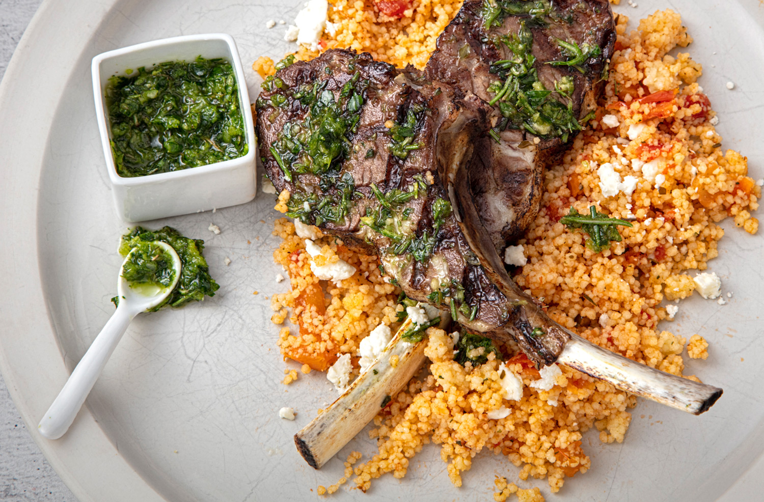 Grilled Herb Crusted Lam Chops with Couscous and Feta Cheese
