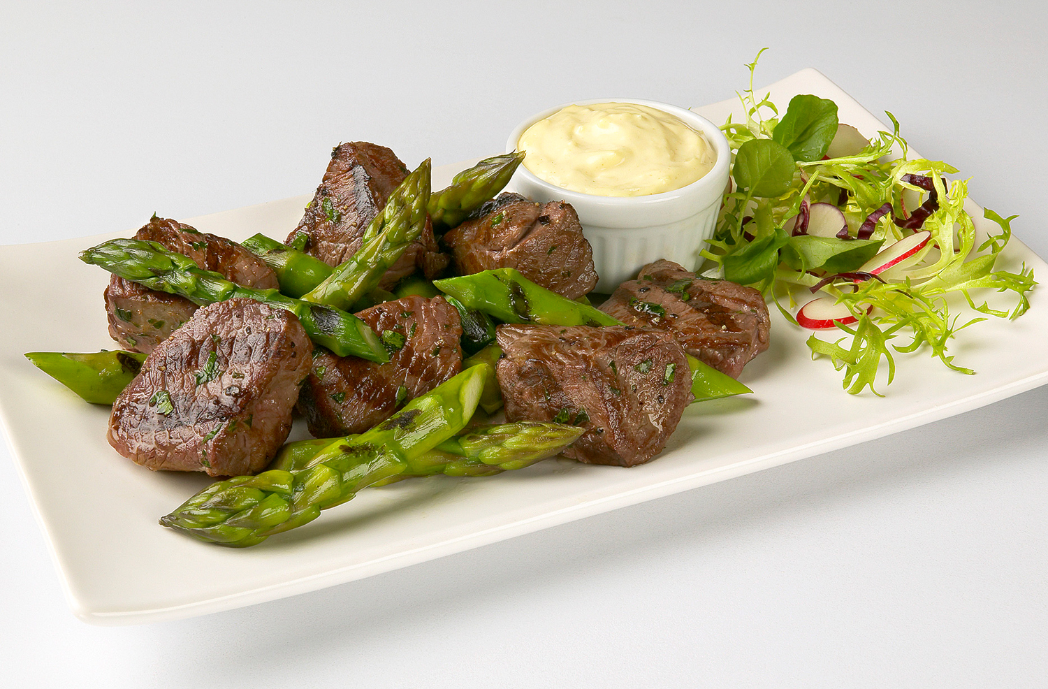Lamb and Asparagus Mustard Aioli