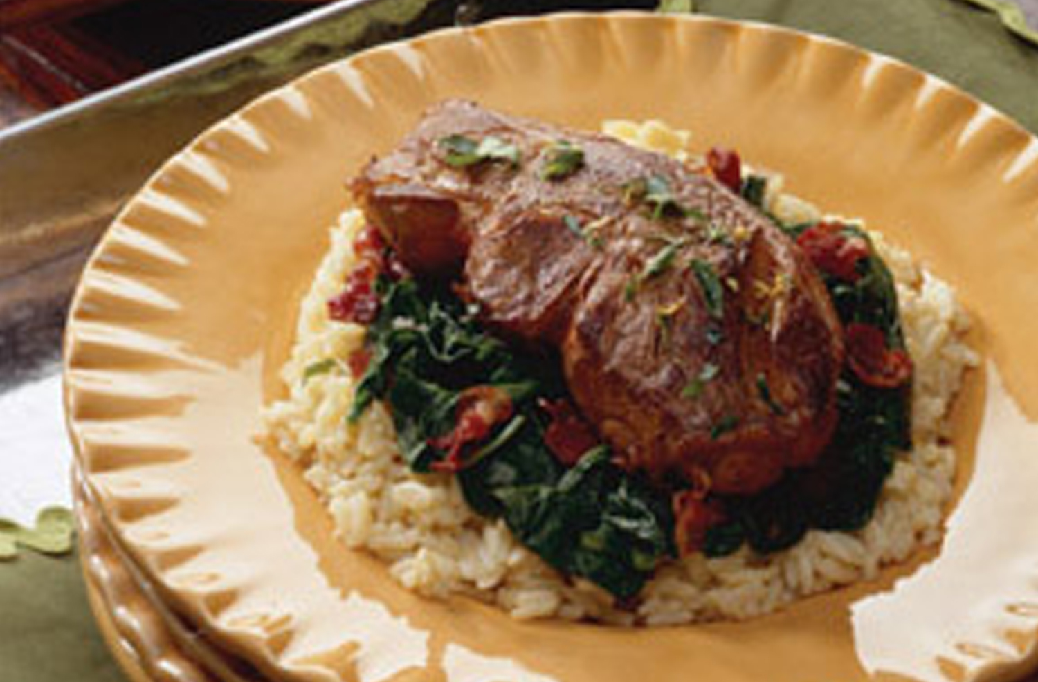 Lamb Chops with Spinach
