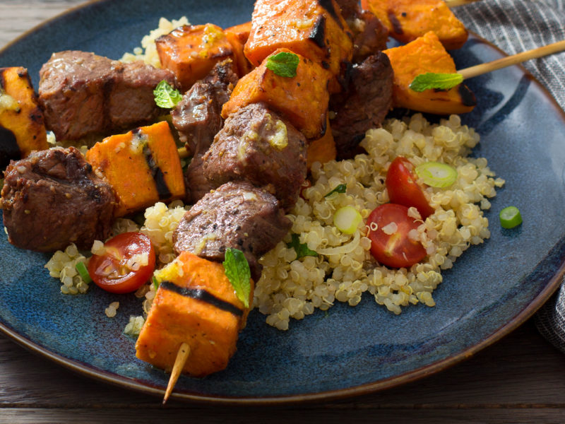 Grilled Lamb and Sweetpotato Kabobs with Quinoa, Garlic, Lemon, and Mint